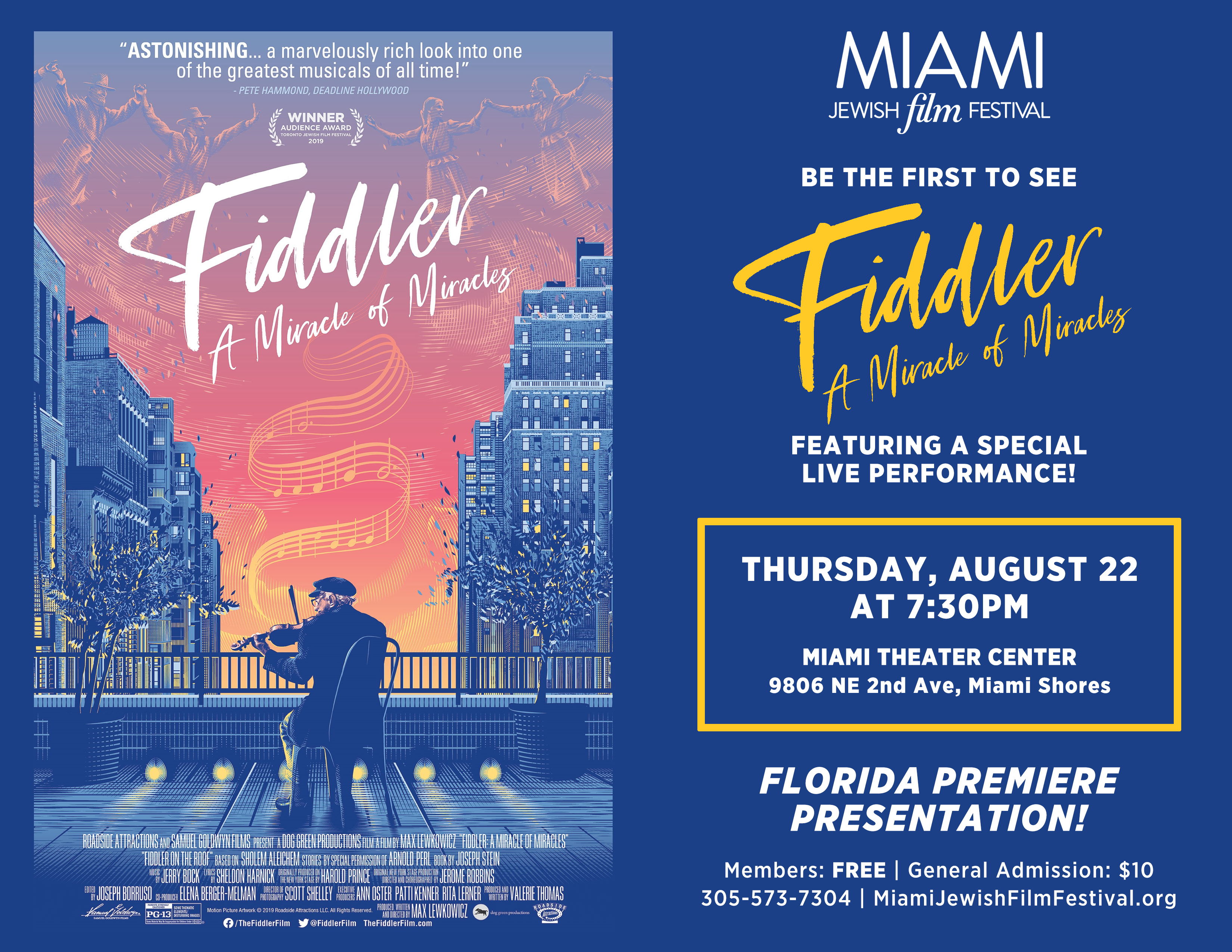 Florida Premiere: FIDDLER: A MIRACLE OF MIRACLES